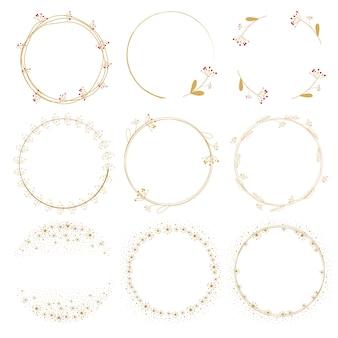 タンポポのゴールデンデオドルの花輪フレームコレクション