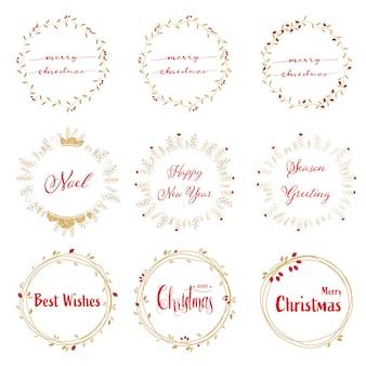 赤い書道のコレクションと黄金のクリスマスの花輪