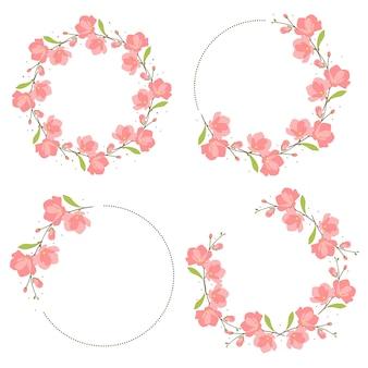 Розовая магнолия цветение венок кадр плоский стиль коллекции