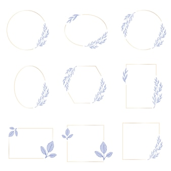 ゴールデンリースフレームコレクションと水彩紫青葉