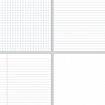 白のしわくちゃの紙の青いグラフ線とドットのシームレスパターン