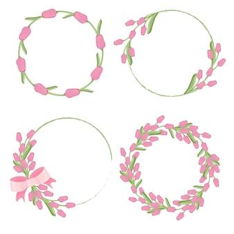 Розовая рамка для венка из тюльпанов для коллекции весна или день матери