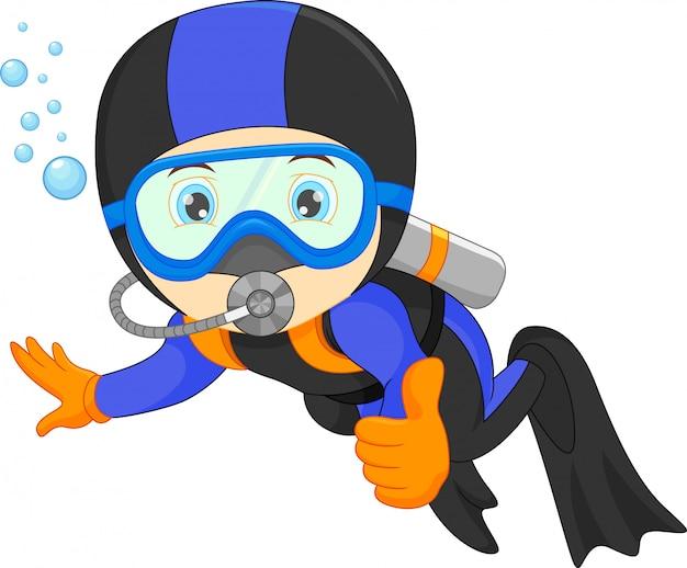 Милый мальчик подводное плавание