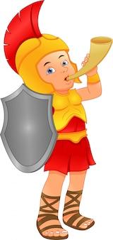 ローマの兵士の衣装を着ている少年