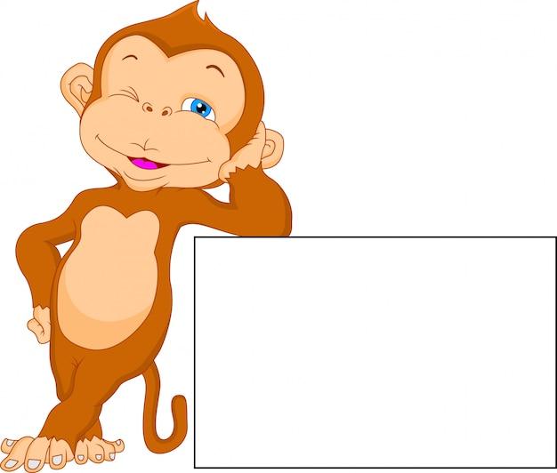 Милый мультфильм обезьяна с пустым знаком