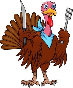 カトラリーを保持しているかわいいトルコ鳥漫画