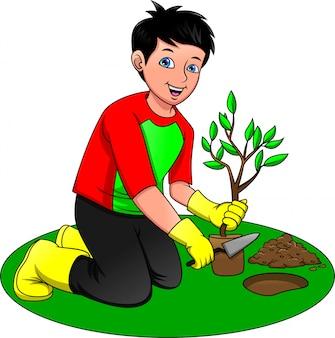 Мальчик сажает деревья, спасите нашу зеленую планету