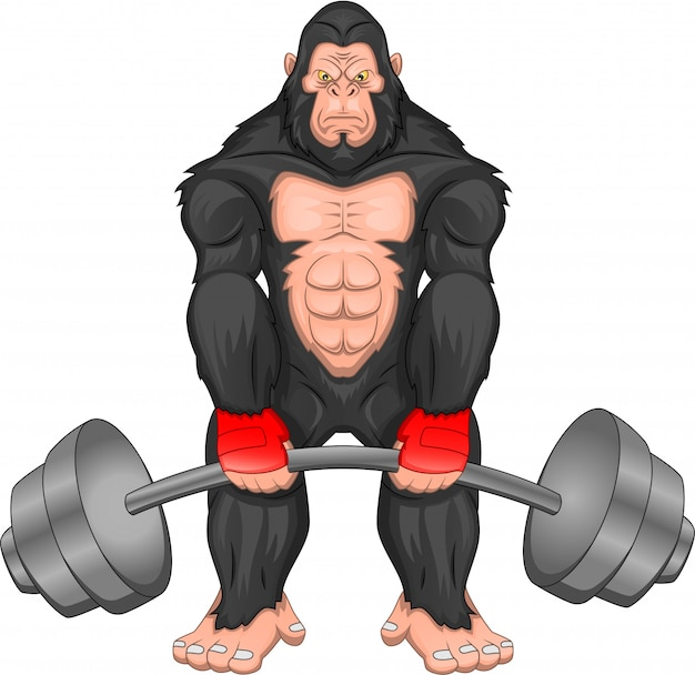 Мультфильм гориллы с большой штангой
