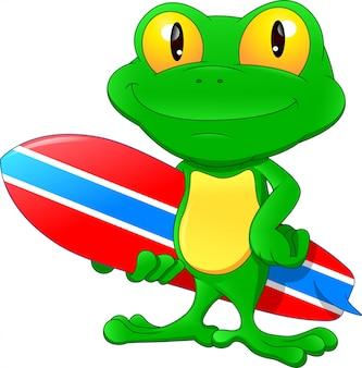 Мультфильм зеленая лягушка держит доску для серфинга