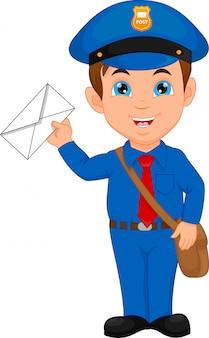 Мультяшный почтальон, держащий почту