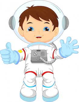 宇宙飛行士の衣装を着て漫画の少年