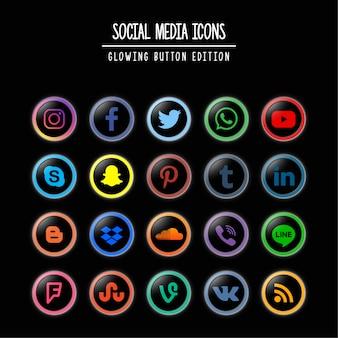 Социальные медиа светящиеся кнопки издание