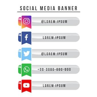 Социальная медиа баннер коллекция флаг версия