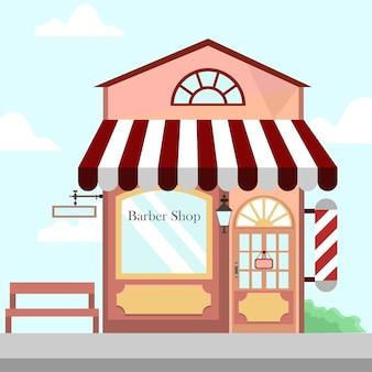 理髪店店舗フロントビルの背景イラスト