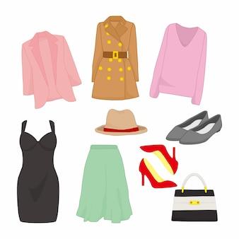 様々な女性のファッションスタイルアイテムイラストデザインセット