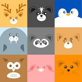 様々なかわいい顔の動物の顔イラスト