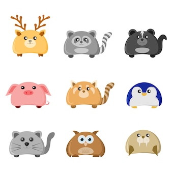 かわいい動物キャラクターイラストセット