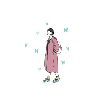 カジュアルな服装の女の子のキャラクター