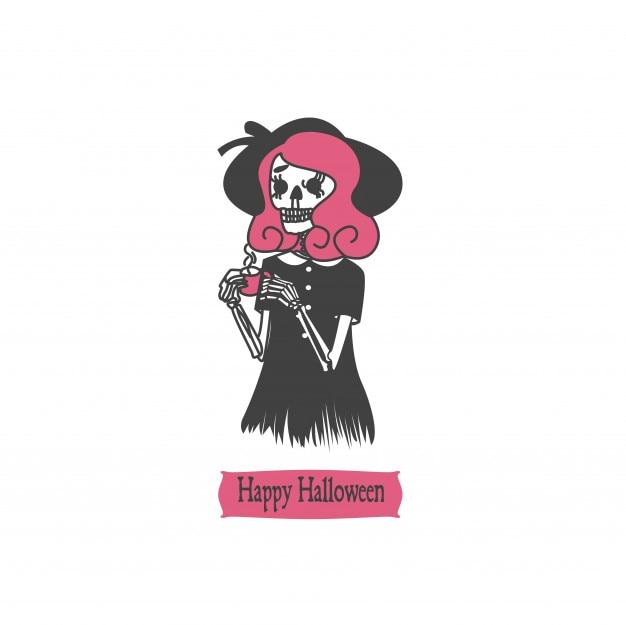 ヴィンテージハロウィンキャラクターの頭蓋骨のデザイン