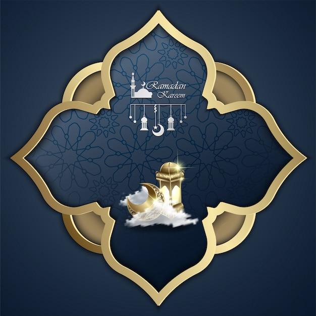 イスラムラマダンカリームデザイン抽象マンダラとランタンのイラスト