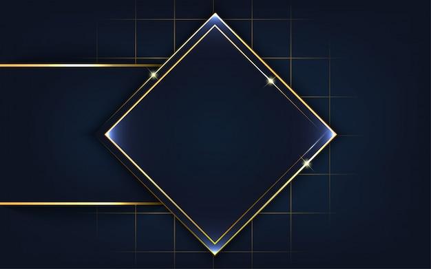 ゴールドラインの背景を持つモダンな形状