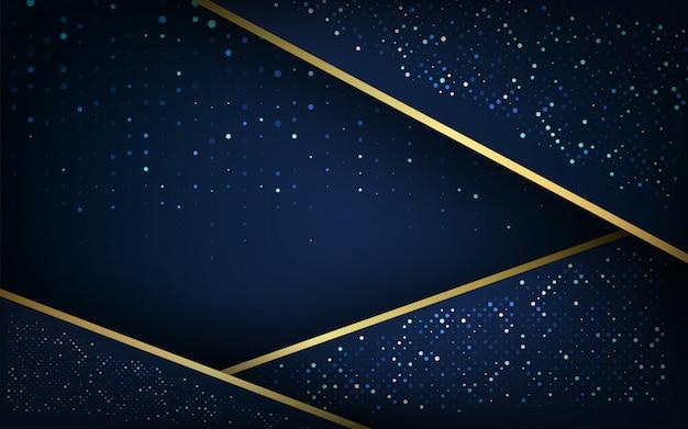 金色の輝く背景を持つダークブルーのオーバーラップレイヤー