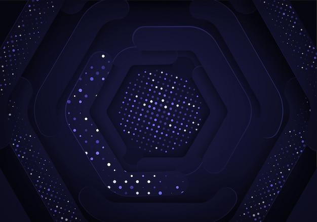 ゴールドラメと抽象的な暗い青色の背景は、光の効果と組み合わせます。