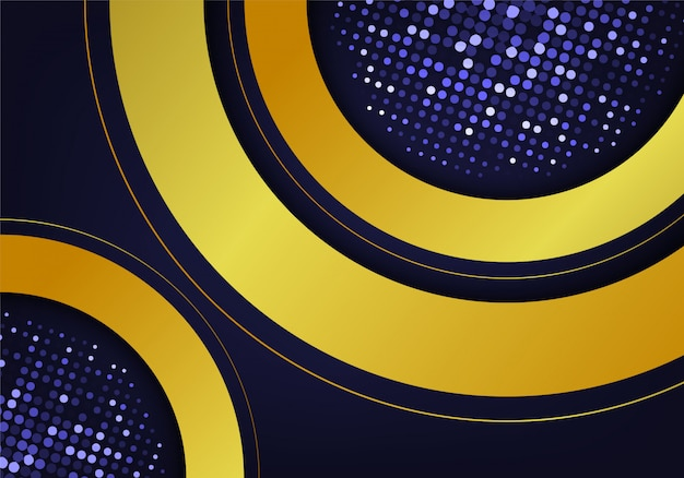 抽象的な暗い青色の背景の金の輝きは、光の効果と組み合わせます。