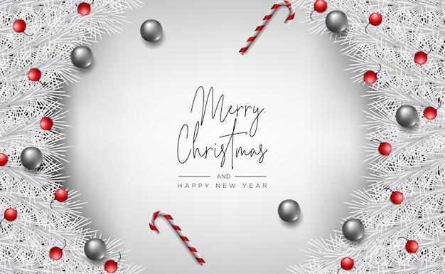 Рождественский баннер, открытка с реалистичными декоративными элементами на фоне дерева