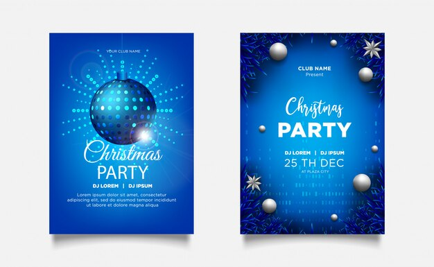 Рождественский постер приглашение партии фон с реалистичным украшением