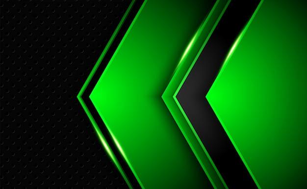 抽象的な光沢のある濃い緑色の形状のオーバーラップ背景技術と未来のコンセプト