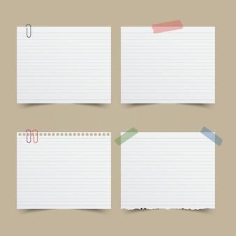 ノートペーパーのセット。ベクトル図。