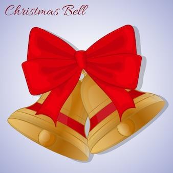 赤い弓のクリスマスの鐘。シンプルな漫画スタイル。ベクトル図。