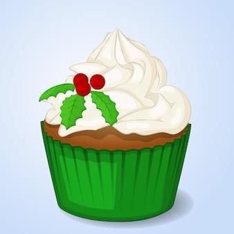 漫画のスタイルで甘くて美味しいクリスマスカップケーキ。ベクトル図
