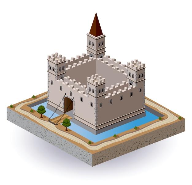 中位の城のベクトルを堀と門で等角投影