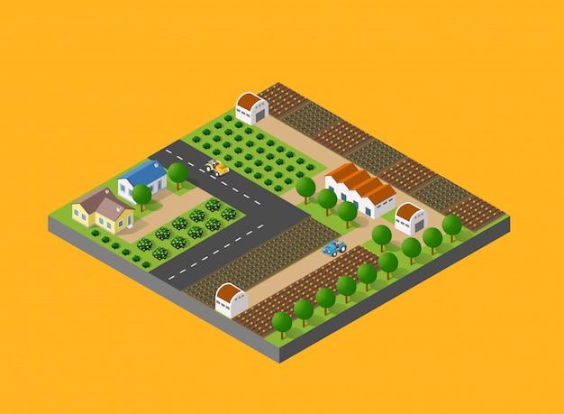 自然との農村風景