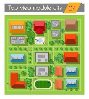Пейзаж города, вид сверху