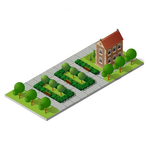 Ретро изометрический загородный дом