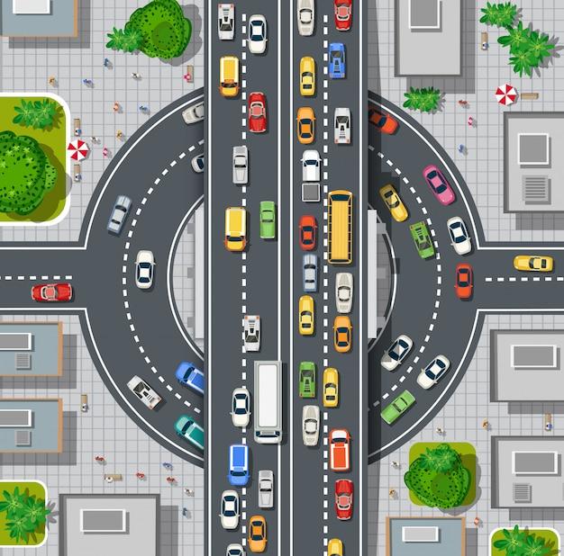 Вид сверху карты города