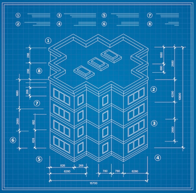 住宅の建物の青写真の等尺性計画