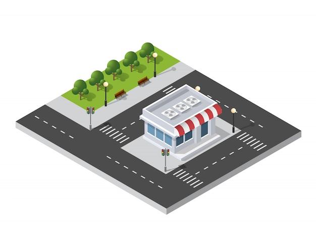 Район городской улицы, дома изометрические