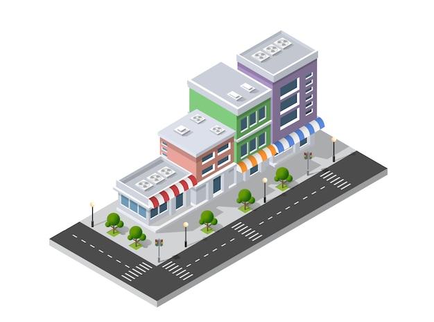 市街地通りの地区は等角投影
