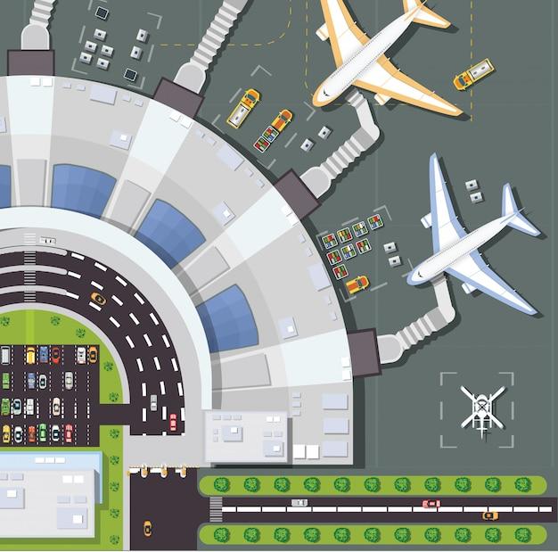 オーバーヘッドの視点の空港