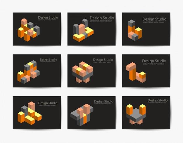 抽象的な等尺性ロゴタイプ