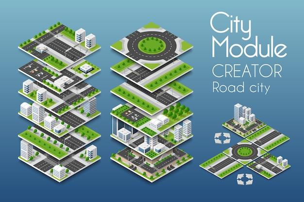 Изометрическая концепция создателя модуля города