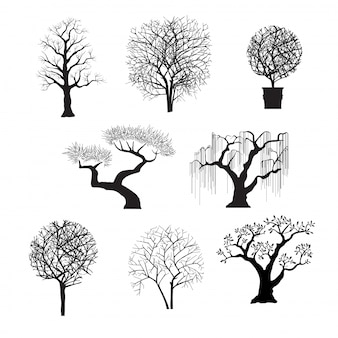 Силуэты деревьев для дизайна