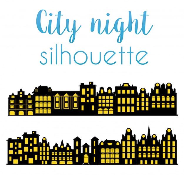 街の夜のシルエット