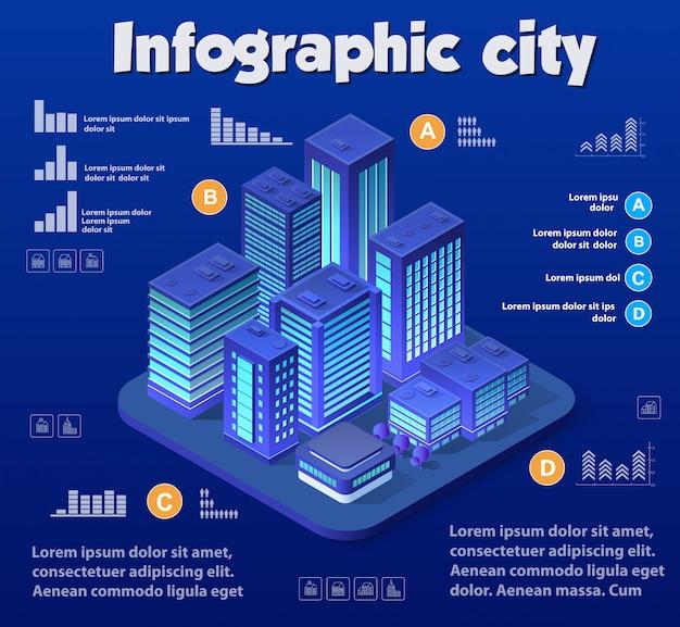 Изометрические город фиолетовый