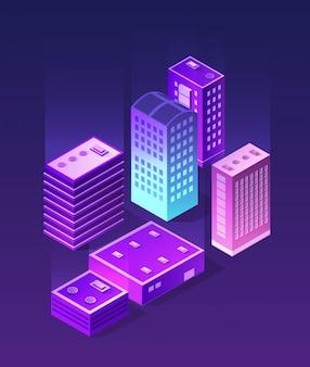 Изометрический ультрафиолетовый город