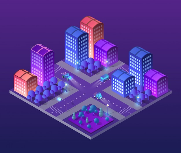 Изометрические ультра город концепция